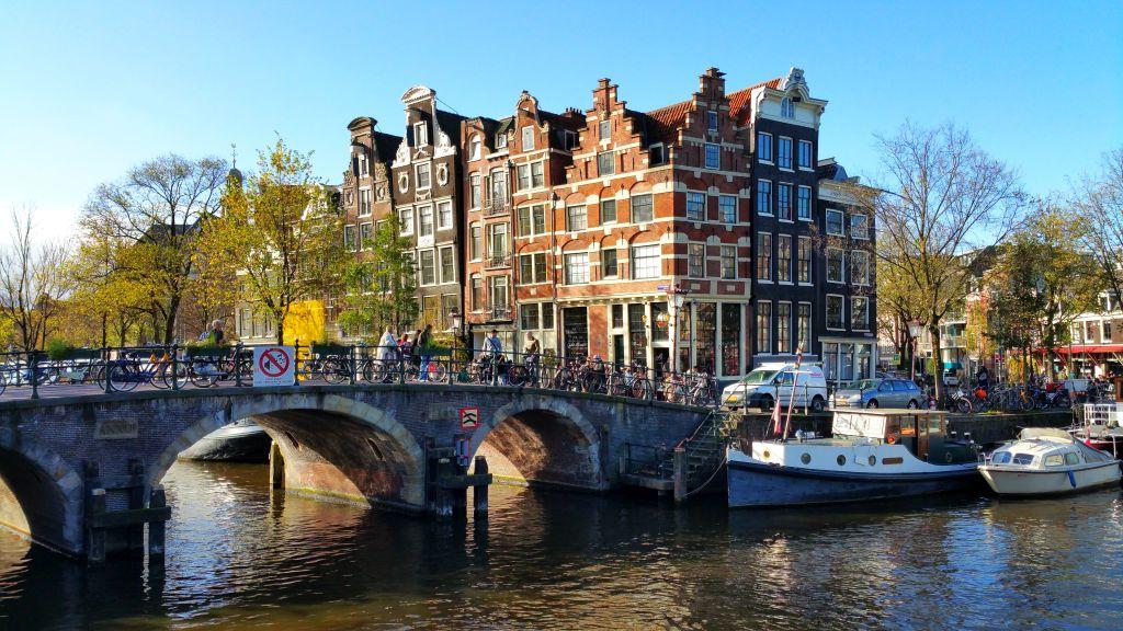 Herbst Amsterdam Ecke Prinsengracht Brouwersgracht