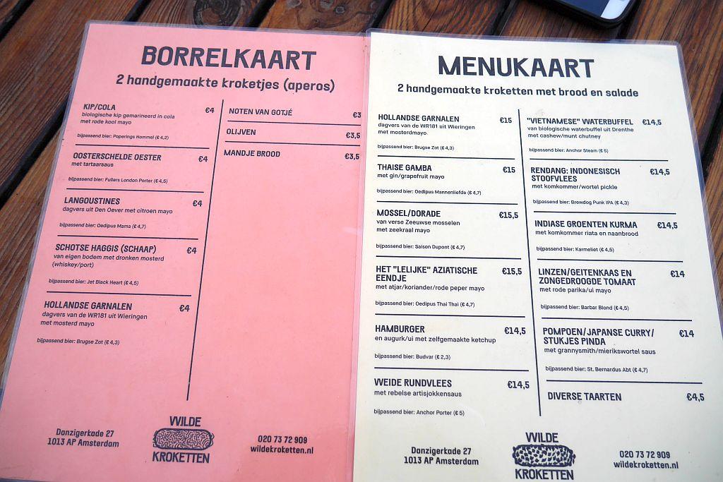 Speisekarte Restaurant Wilde Kroketten Amsterdam