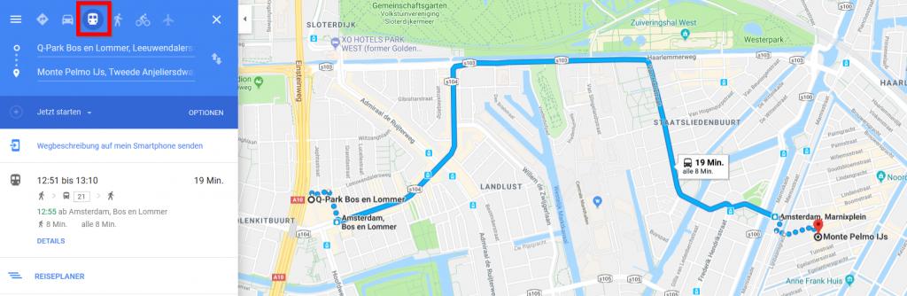 Google Maps Strecke P+R Bos en Lommer ins Zentrum