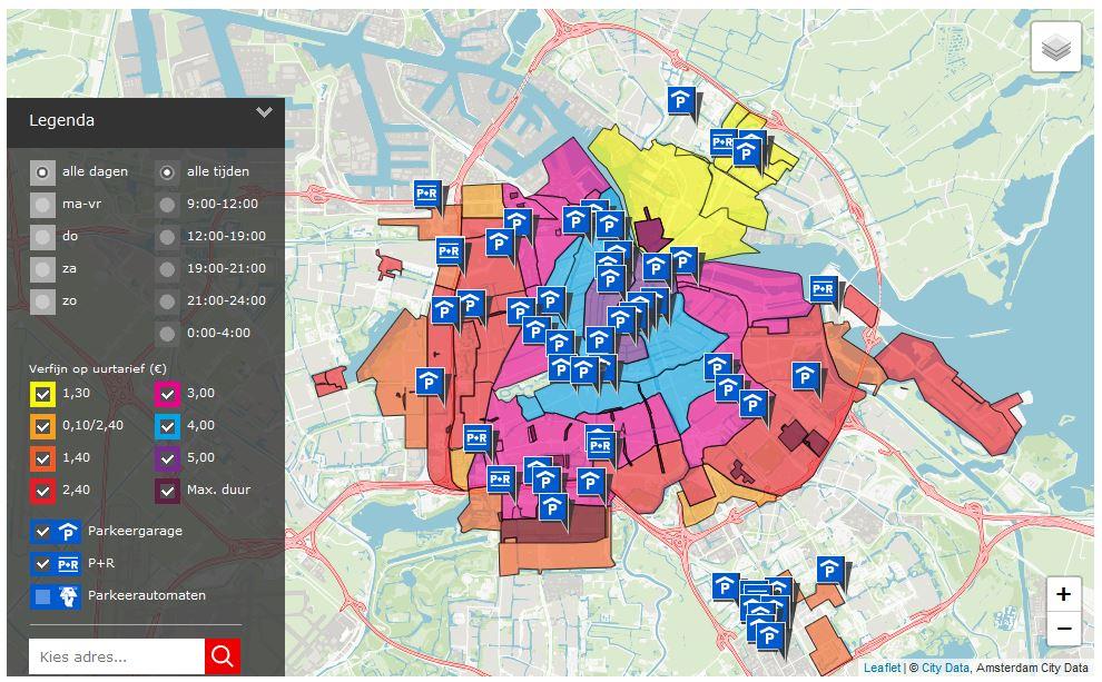 Parken Amsterdam an der Straße Preise