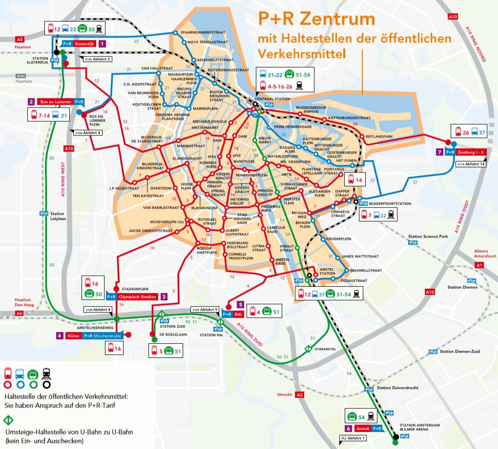 Amsterdam P+R Stationen Zentrum